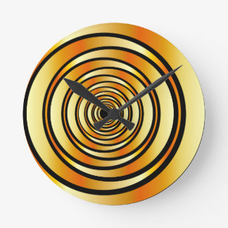 High tech metallic ring background round clock