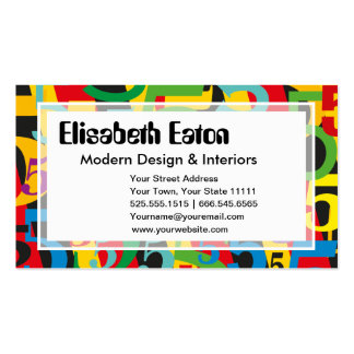 High Tech Retro Modern Number Five Colorful Business Cards