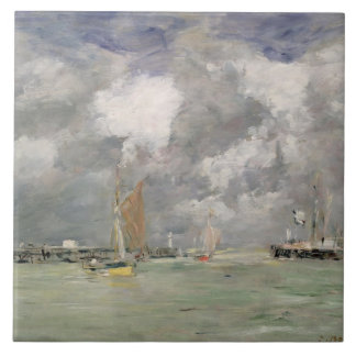 High Tide at Trouville, c.1892-96 (oil on panel) Tile