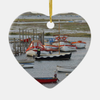 High tide, Morston, Norfolk Ceramic Heart Decoration