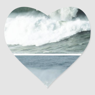 HIGH TIDE WAVES -  OCEAN BEACHES HEART STICKERS