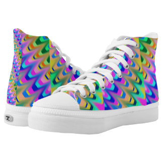 High top shoe mixed colours printed shoes