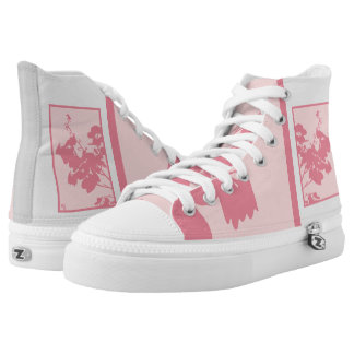 High Top Shoes PINK HUMMINGBIRD Printed Shoes