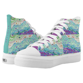 High Top Shoes - Seashore Art Design / with Print