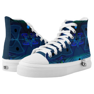 High Top Shoes w. Digital Art 'Spaceship Interior' Printed Shoes