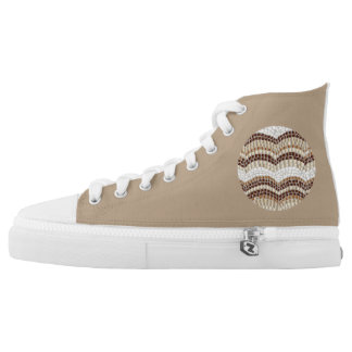High top shoes with beige mosaic printed shoes
