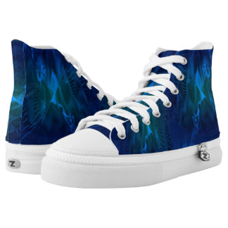 High Top Shoes with Blue and Green Digital Pattern Printed Shoes