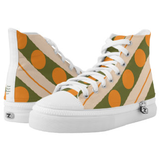 High Top Shoes with Green and Orange Design