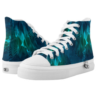 High Top Shoes with Green and Teal Digital Pattern