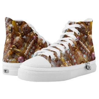High Top Sneakers- Natural Earthtones, Bronze Bead Printed Shoes