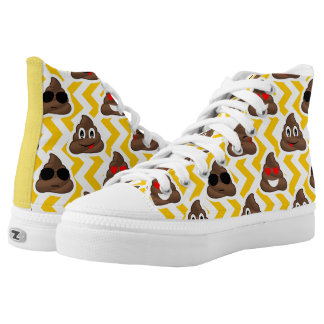 High Top Sneakers With Poop Emojis (yellow)