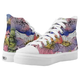 High Tops, Snatched, Watercolor Flower Power Printed Shoes