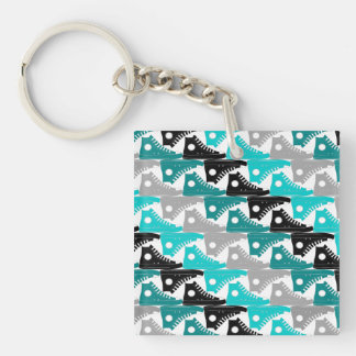 High Tops Teal-n-Black Shoes Double-Sided Square Acrylic Key Ring