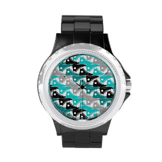 High Tops Teal-n-Black Shoes Wrist Watch