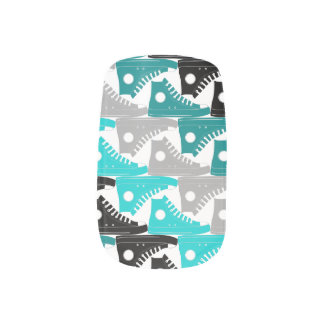 High Tops Teal-n-Black Shoes Nail Sticker