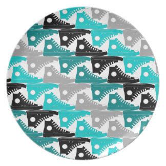 High Tops Teal-n-Black Shoes Party Plate