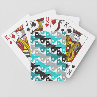 High Tops Teal-n-Black Shoes Poker Cards