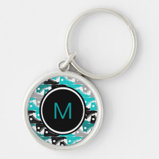 High Tops Teal-n-Black Shoes Silver-Colored Round Key Ring