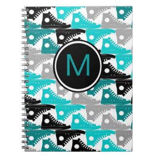 High Tops Teal-n-Black Shoes Spiral Notebook
