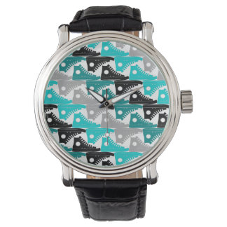High Tops Teal-n-Black Shoes Wrist Watches