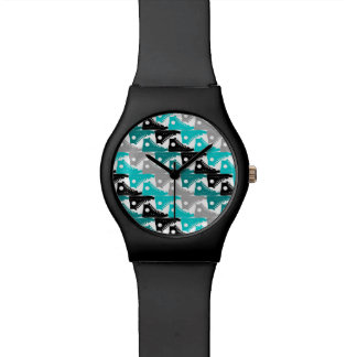 High Tops Teal-n-Black Shoes Wristwatches