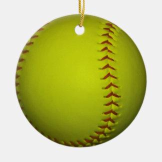 High Visibility Yellow Softball Christmas Ornament