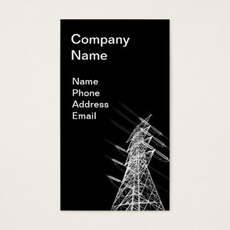 High Voltage Power Mast in Reverse Silhouette Business Card