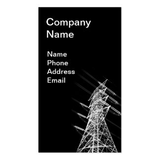 High Voltage Power Mast in Reverse Silhouette Business Cards
