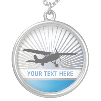 High Wing Aircraft Silver Plated Necklace