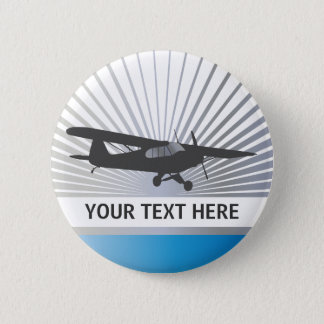 High Wing Taildragger Aircraft 6 Cm Round Badge