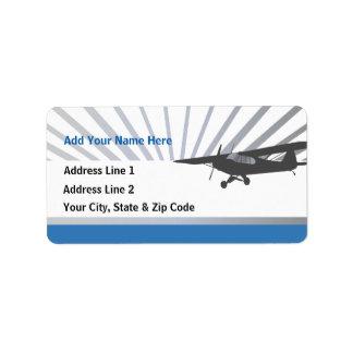 High Wing Taildragger Aircraft Address Label