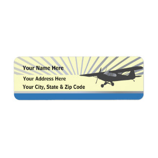 High Wing Taildragger Aircraft Return Address Label