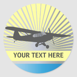 High Wing Taildragger Aircraft Round Stickers