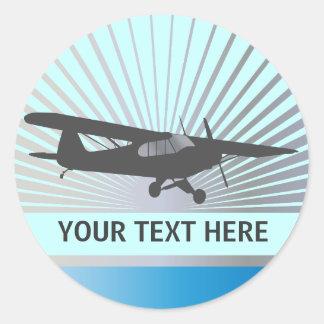 High Wing Taildragger Aircraft Round Sticker