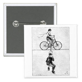 High-wire Bicycle - Vintage Circus Cycling Act 15 Cm Square Badge