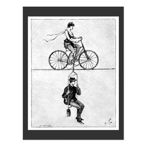 High-wire Bicycle - Vintage Circus Cycling Act Post Cards