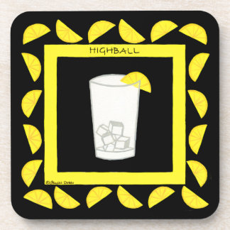 Highball Alcohol Retro Drink Art Green Limes Black Drink Coaster