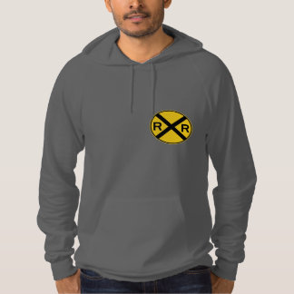 Highball it!  Vintage Locomotive Railroad Crossing Hoodie