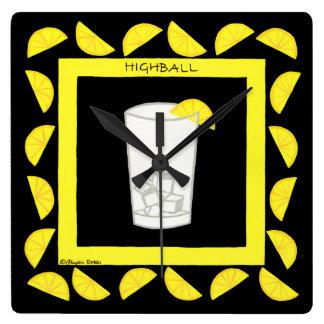 Highball Retro Drink Cocktail Yellow Lemons Black Wall Clocks