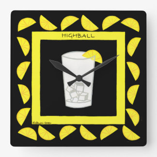 Highball Retro Drink Cocktail Yellow Lemons Black Wall Clocks