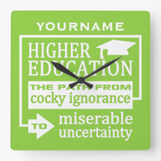 Higher Education humor custom color wall clock