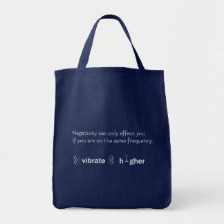Higher vibration navy blue tote bag