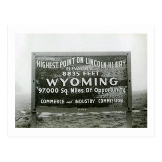 Highest Point on Lincoln Hi-Way, Wyoming Vintage Postcard
