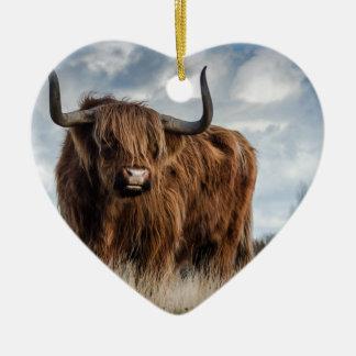Highland Bull Ceramic Heart Decoration