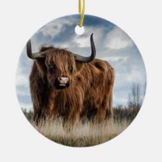 Highland Bull Round Ceramic Decoration