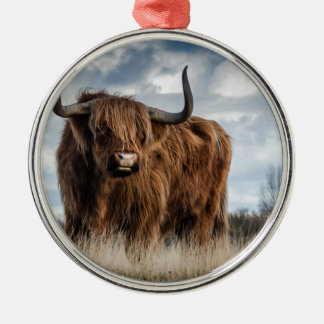 Highland Bull Silver-Colored Round Decoration