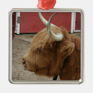Highland Cattle Cow Square Metal Christmas Ornament