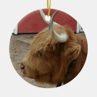 Highland Cattle Cow Round Ceramic Decoration