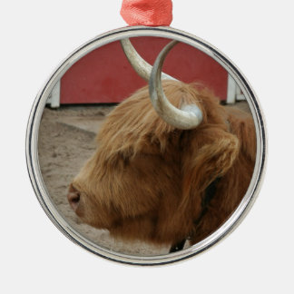 Highland Cattle Cow Silver-Colored Round Decoration