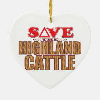 Highland Cattle Save Ceramic Heart Decoration
